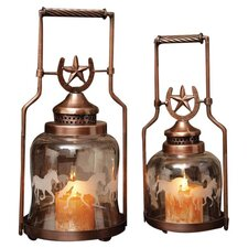 2 Piece Horse Shoe and Gallopping Horse Glass and Metal Lantern Set (Set of 2)