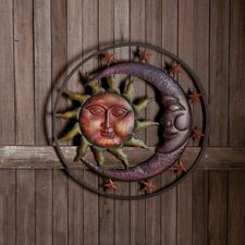 Sun Moon and Stars Metal Round Wall Décor