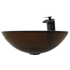 Glass Vessel Sink with Drain and Faucet
