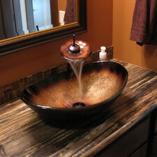 Hand Painted Glass Vessel Sink with Drain and Faucet