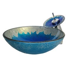 Diaccio Hand Painted Glass Vessel Sink with Drain and Faucet