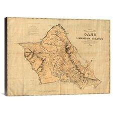 'Oahu, Hawaiian Islands, 1881' by Hawaiian Government Survey Graphic Art on Canvas