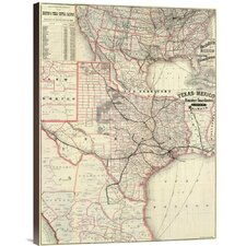 'Texas and Mexico, Houston and Texas Central Railways, 1885' Graphic Art on Canvas