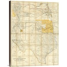 'Map of The States of Kansas and Texas and Indian Territory, 1867' by United States War Department Graphic Art on Canvas