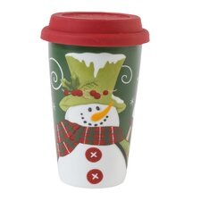 Holly Hat Snowman Travel Mug
