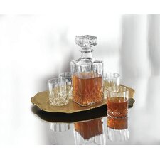 Denmark Fitz and Floyd6 Piece Decanter, Tray and Glass Whiskey Set