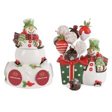 Holly Hat Snowman 2 Piece Completer Set