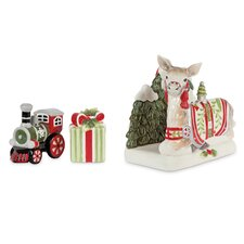 3 Piece Winter White Holiday Serving Set