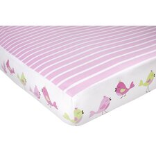 Audrey Pink Birds and Stripe Crib Fitted Sheet