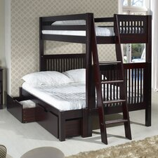 Twin Over Full Bunk Bed with Lateral Angle Ladder and Drawers