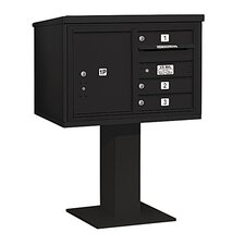 4C Pedestal Mailbox 5 Door High Unit Double Column 3 Doors and 1 Parcel Locker