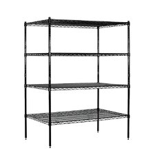 Wire Stationary 4 Shelf Shelving Unit Starter
