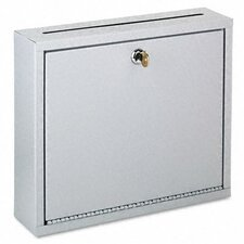 Wall-Mountable Interoffice Mail Collection Box, 12w x 3d x 10h, Platinum