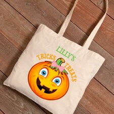 Personalized Halloween Trick-or-Treat Girl Pumpkin Canvas Bag
