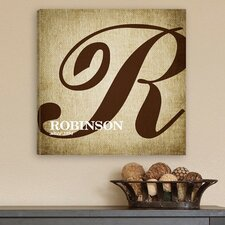 Personalized Gift Calligraphy Monogram Textual Art on Canvas