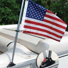 Pontoon Mounted Flag and Flagpole Set