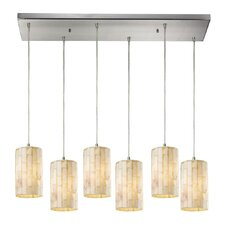 Piedra 6 Light Satin Nickel Pendant