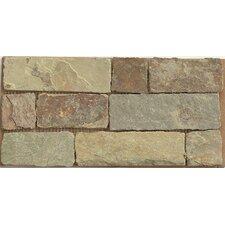 "6"" x 12"" Stone Mosaic Liner Tile in Rajah Multicolor"