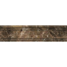 "Polished Marble 12"" x 3""  Chandra Crown Molding Tile in Emperador Dark"