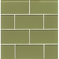 "Hamptons 3"" x 6"" Glass Subway Tile in Green"