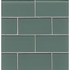 "Hamptons 3"" x 6"" Glass Subway Tile in Cushing Green"
