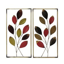 2 Piece Leaf Branches Sculpture Wall Decor Set