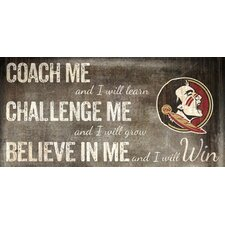 NCAA Coach, Challege and Believe Graphic Art Plaque