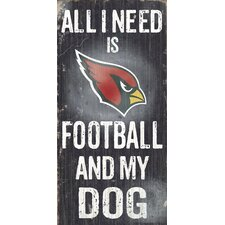 NFL Football and My Dog Graphic Art Plaque