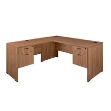 Sandia L-Shape Reception Desk with Double File/Box Pedestal