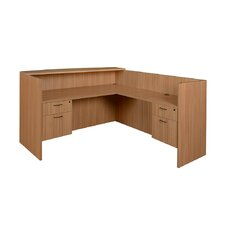 Sandia L-Shape Reception Desk with Double Box/File Pedestal