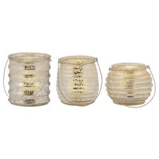 3 Piece Pacific Accents Milano Mercury Glass Tealight Holders Set