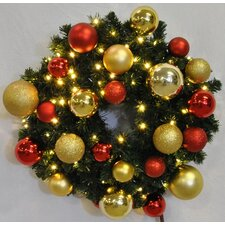 Pre-Lit Sequoia Wreath Decorated with Ornament