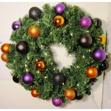 Pre-Lit Blended Pine Wreath Decorated with Ornaments