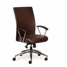 Rete High-Back Leather Executive Chair with Arms