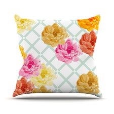 Trellis Peonies by Pellerina Design Flowers Cotton Throw Pillow
