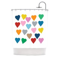 Colorful Hearts Shower Curtain