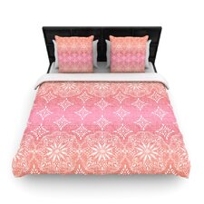 Medallion Red Ombre by Suzie Tremel Woven Duvet Cover