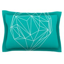 Heart Graphic Turquoise by Mareike Boehmer Pillow Sham