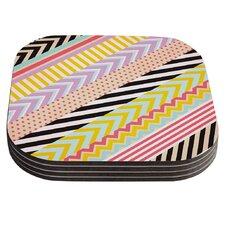 Diagonal Tape by Louise Machado Multicolor, Geometric Coaster (Set of 4)