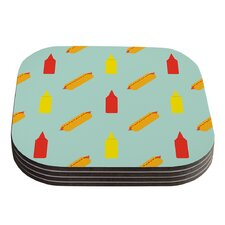 Hot Dog Pattern by Will Wild Food Coaster (Set of 4)