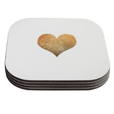 Gold Heart by Suzanne Carter Glam Coaster (Set of 4)