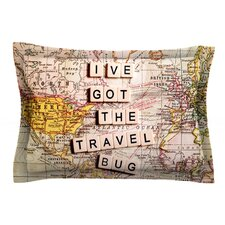 Travel Bug by Sylvia Cook Map Cotton Pillow Sham