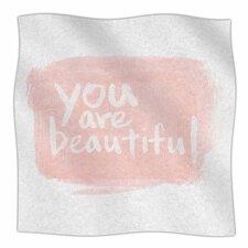Brush Lettering Beautiful Fleece Throw Blanket