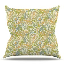 Warm Tropical Leaves Throw Pillow