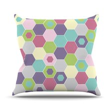 Pale Bee Hex by Nicole Ketchum Throw Pillow