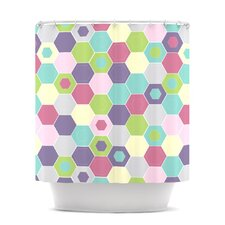 Pale Bee Hex Shower Curtain