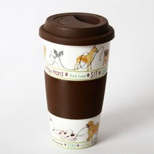 """Lucky Dog """"Dogs"""" Silicone Grip Ceramic Insulated Tumbler"""