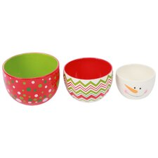 Christmas Morning 3 Piece Ceramic Nested Bowl Set