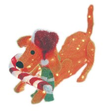 105 Light 3D Snowy Soft Puppy Dog Sculpture with Candy Cane