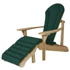 Western Red Cedar Adult Adirondack Chair and Footstool Set with Cushions